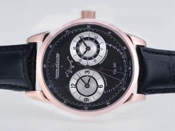 Fake Perfect Jaeger-Lecoultre Duometre Working Power Reserve Rose Gold Case AAA Watches [I3A5]