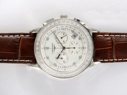 Fake Cool Longines Clous de Paris Chronograph Diamond AAA Watches [P4S7]