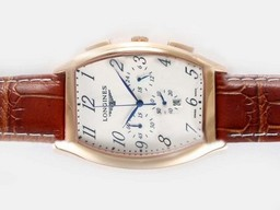 Fake Cool Longines Evidenza Working Chronograph Rose Gold Case with White Dial AAA Watches [V7G6]