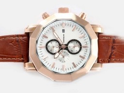 Fake Cool Montblanc Sport Chronograph Automatic Two Tone Case with White Dial AAA Watches [C1U1]