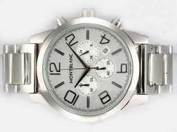 Fake Gorgeous Montblanc Time Walker Working Chronograph with Silver Dial AAA Watches [W9U3]