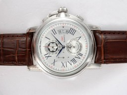 Fake Great Montblanc Star Chrono GMT Working Chronograph with White Dial AAA Watches [D6G1]
