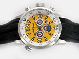 Fake Modern Montblanc Star Working Chronograph with Yellow Dial-Rubber Strap AAA Watches [M7N9]
