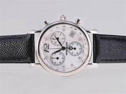 Fake Perfect Montblanc Star Working Chronograph with White Dial and Black Strap AAA Watches [Q7H9]