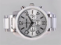 Fake Perfekt Montblanc Time Walker Working Chronograph med Silve