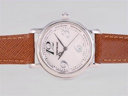 Fake Popular Montblanc Star with White Dial and Brown Strap-Lady Size AAA Watches [L5O7]