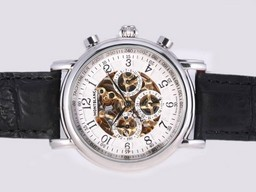 Fake Quintessential Montblanc Skeleton Chronograph Automatic-Number Marking AAA Watches [B5C5]