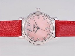 Fake Quintessential Montblanc Star Diamond Marking with Pink Dial and Red Strap-Lady Size AAA Watches [B6Q5]