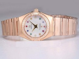 Fake Cool Omega Constellation Full Rose Gold with Diamond AAA Watches [X9W5]