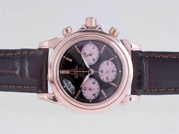 Fake Cool Omega De Ville Working Chronograph Rose Gold Case with Black Dial AAA Watches [S2N6]