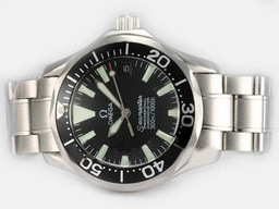 Fake Cool Omega Seamaster Automatic med Sorte Ring op and Bezel