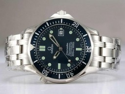Fake Cool Omega Seamaster Automatic with Blue Dial and Bezel AAA Watches [M2X1]
