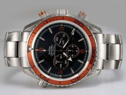 Fake Cool Omega Seamaster Planet Ocean Chronograph Black Dial AA