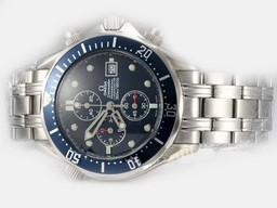 Fake Cool Omega Seamaster Professional Working Chronograph with Blue Dial AAA Watches [P6G6]