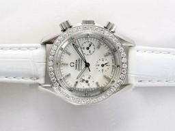 Fake Cool Omega Speedmaster Automatic Diamond Bezel and Marking with White Dial AAA Watches [J6A4]
