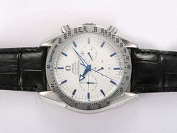 Fake Cool Omega Speedmaster Chronograph Automatic Blue Marking with White Dial AAA Watches [L5M5]