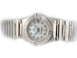 Fake Fancy Omega Constellation Diamond Bezel and Marking with MOP Dial-Lady Size AAA Watches [G7H9]