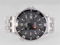 Fake Gorgeous Omega Seamaster Professional GMT with Black Wavy Dial-Same Structure As AAA Watches [B1N5]
