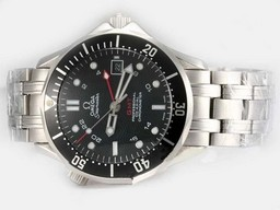 Fake Gorgeous Omega Seamaster Working GMT Automatic with Black Dial AAA Watches [F9L8]