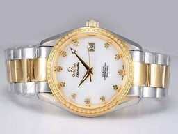 Fake Great Omega Seamaster Movement Two Tone with Diamond Bezel AAA Watches [P9F9]