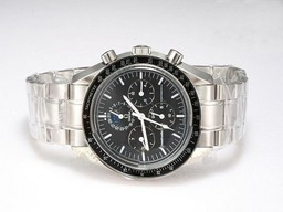 Fake Gran Omega Speedmaster cronógrafo automático con Negro Dial Relojes AAA [ L9A8 ]