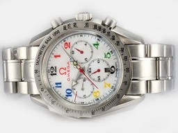 Fake Grote Omega Speedmaster Chronograph Automatic met Mop Dial - Olympische Editie AAA Horloges [ F7F2 ]
