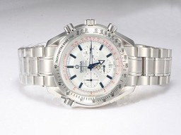 Fake Great Omega Speedmaster Co-Axial Working Chronograph with White Dial AAA Watches [X4R5]