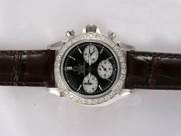 Fake Perfect Omega De Ville Working Chronograph Diamond Bezel with Black Dial AAA Watches [X1V5]
