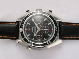 Fake Perfect Omega Seamaster Planet Ocean Working Chronograph med Black Bezel AAA Klokker [ R8V9 ]