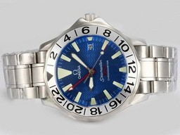 Fake Perfect Omega Seamaster Working GMT Automatic with Blue Dial AAA Watches [I9N7]