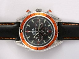 Fake Popular Omega Seamaster Planet Ocean Working Chronograph with Orange Bezel AAA Watches [G4X8]