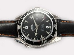 Fake Quintessential Omega Seamaster Planet Ocean Automatic with Black Bezel and Dial AAA Watches [X4F8]
