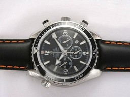 Falso Quintessential Omega Seamaster Planet Ocean Chronograph Lavorare con Black Bezel Orologi AAA [ V3P7 ]