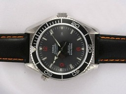 Fake Quintessential Omega Seamaster Planet Ocean Automatic with Black Bezel and Dial AAA Watches [W2K7]