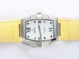 Fake Vintage Omega Constellation Diamond med White Dial Lady Storlek AAA klockor [ T3D4 ]