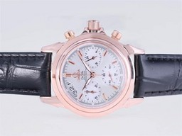 Fake Vintage Omega De Ville Working Chronograph Rose Gold Case with White Dial AAA Watches [P1B2]