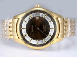 Fake Vintage Omega Hour Vision See Thru Case Automatic Full Gold with Brown Dial AAA Watches [V1K8]