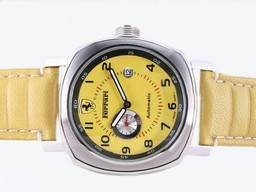 Fake Cool Panerai Ferrari Automatic with Yellow Dial and Strap AAA Watches [H6F3]