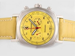 Fake Cool Panerai Ferrari Rattapante Chronograph Automatic with Yellow Dial AAA Watches [B8A4]
