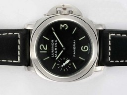 Fake Cool Panerai Luminor Marina Swan Neck Unitas 6497 Movement med sort urskive AAA Klokker [ O2E1 ]