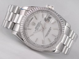 Fake fresca Movimiento Rolex Day-Date con Silver Dial - Stick Marcado Relojes AAA [ V4I4 ]