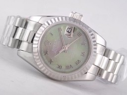 Fake Fancy Rolex Datejust Movement Green MOP Dial -Roman Merkint