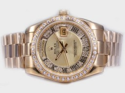 Fake Fancy Rolex Day-Date Automatic Full Gold Diamond Bezel med Golden Ring AAA klockor [ I5I4 ]