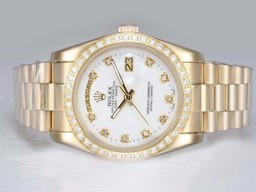 Fake Fancy Rolex Day -Date Automatic Fuld Guld med Diamant Bezel