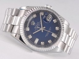 Fake Fancy Rolex Day-Date Beweging met Blue Dial - Diamant Markering AAA Horloges [ N6J5 ]