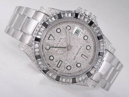 Fake Fancy Rolex GMT - Master II Automatic CZ Diamond Bezel met Diamond Dial AAA Horloges [ O4C2 ]