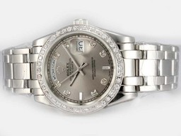 Fake Fancy Rolex Masterpiece Automatische Diamond Markering en Bezel met Grey Dial AAA Horloges [ O4A7 ]