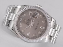 Fake Gorgeous Rolex Day-Date bevegelse med Gray Dial - Diamond Merking AAA Klokker [ V6M8 ]