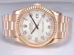 Fake Suuri Rolex DateJust Automatic Full Rose Gold White Dial AA