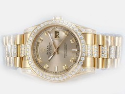 Faux Grande Rolex Day-Date mouvement complet d'or Diamond Bezel AAA Montres [ N3C7 ]